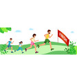 healthy lifestyle happy family on jogging father vector image