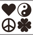 Heart yin yang peace symbol and clover symols