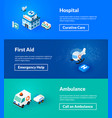 hospital first aid and ambulance banners of vector image vector image