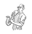 jazz saxophone player in linear style music vector image