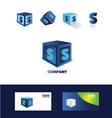 Letter S blue cube logo icon