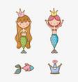 little mermaids art cartoon vector image vector image