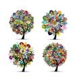Mandala tree set floral sketch for your design vector image