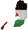 Map with Palestinian flag inside vector image vector image