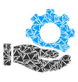 mechanic gear service hand mosaic of triangles vector image