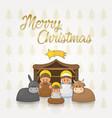 merry christmas manger postcard vector image vector image