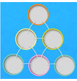 multi-colored circles on a blue background vector image vector image