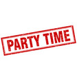 party time red grunge square stamp on white vector image vector image