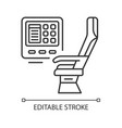 passenger seat with multimedia screen linear icon vector image vector image