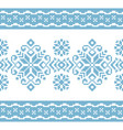 pattern for knitting with blue and white ornament vector image vector image