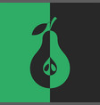 pear cut creative black and green abstract fruit vector image