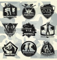 premium vintage paintball club labels set vector image vector image