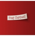 Realistic Christmas white Ribbon on red Background vector image vector image