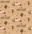 retro seamless pattern with retro car race in sand vector image
