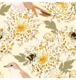 seamless chrysanthemum and birds vector image vector image