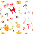 seamless pattern with santa christmas decorations vector image vector image