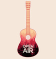 summer music open air festival guitar poster vector image vector image