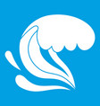 surf wave icon white vector image vector image