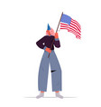 woman in festive hat holding usa flag girl vector image