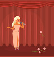 woman singing on stage flat vector image vector image