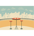 city cafe with table and cups of coffee vector image