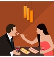 couple dinner woman give food for man romantic vector image