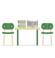 Chairs With Books On Table vector image