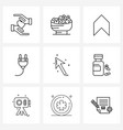 9 interface line icon set modern symbols on vector image vector image