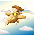 airplane and girl vector image