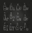 alcoholic drinks line icons - white drinks icons vector image