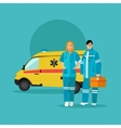 Ambulance car and emergency paramedic team vector image