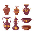 ancient clay vases with ethnic ornaments set vector image