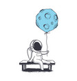 astronaut keeps moon who like a balloon vector image vector image