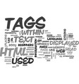 basic html tags for beginners text word cloud vector image vector image