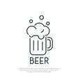 beer icon mug of beer with foam line art style vector image vector image