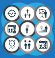 board icons set with management improvements time vector image