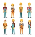 Builder contractor man and female worker vector image vector image