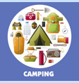 camping equipment for hiking lovers inside circle vector image vector image