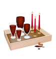 Candles with Red Wine in Wooden Container vector image vector image