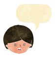 cartoon unhappy boy with speech bubble vector image