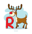 Cartoons Alphabet - Letter R with funny Rudolph vector image vector image