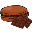 chocolate or coffee taste french macarons or vector image