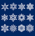 christmas and new year snowflakes set vector image