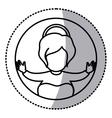 circular sticker contour of baby jesus vector image vector image
