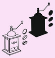 coffee grinder mill and beans vector image