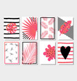 collection cute pink abstract summer cards vector image