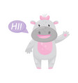 cute adorable hippo with a pink bow saying hi and vector image vector image
