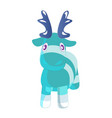 cute blue cartoon reindeer toy funny character vector image vector image
