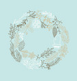 delicate ornament round frame sketch composition vector image