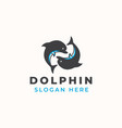 dolphin logo template in isolated white background vector image vector image